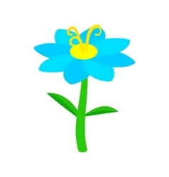 Blue flower icon isometric 3d style vector image vector image