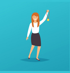 Businesswoman character celebrates she victory vector
