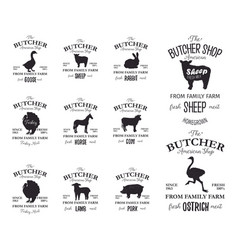 Butcher american shop labels design set with vector