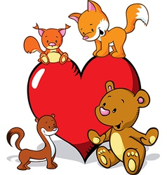cute animals cartoon with valentines heart - fox vector image