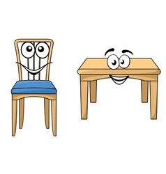 Cute cartoon wooden furniture vector image