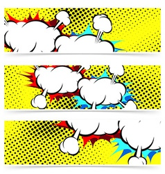 Explosion retro pop art cloud collision concept vector image vector image