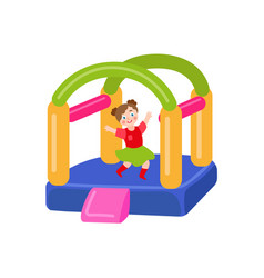 Flat bouncy inflatable castle and girl vector