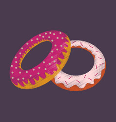 flat shading style icon donuts vector image vector image