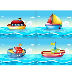 Four different types of boats floating on the sea vector