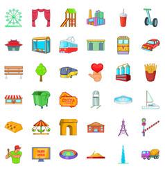 Gate icons set cartoon style vector