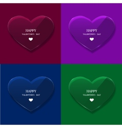 glass heart set on sample background vector image