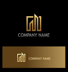 gold building line company logo vector image