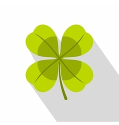 Green clover leaf icon flat style vector image