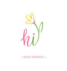 hi spring modern hand drawn lettering vector image