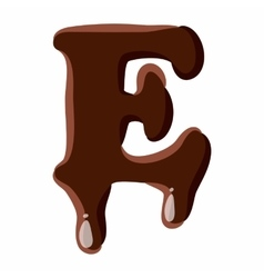 Letter E from latin alphabet made of chocolate vector image vector image