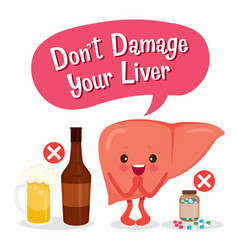 Liver human internal organ cartoon character vector