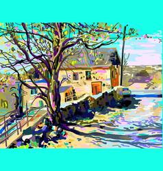 painting of kamenetz-podolsky town vector image vector image