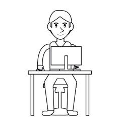 Pictogram young boy uses computer desk chair vector
