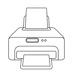 Printer icon in outline style isolated on white vector image