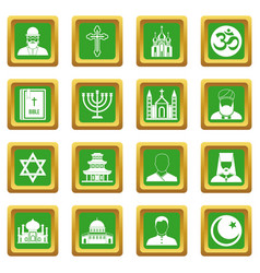 Religious symbol icons set green vector
