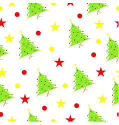 seamless pattern with christmas tree and stars vector image vector image