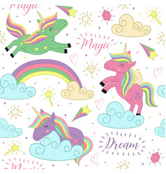 seamless pattern with magic unicorn vector image vector image