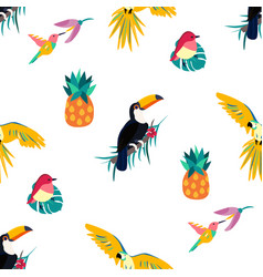 Seamless tropical pattern with toucan parrot vector