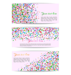 set of banners with confetti vector image vector image