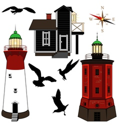 Set of lighthouses vector