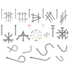 Set of steel nails vector image vector image