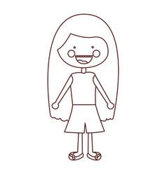 sketch contour smile expression cartoon long hair vector image