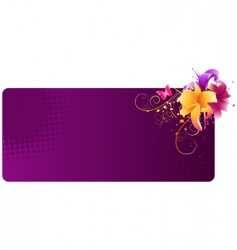 violet banner with lily flowers vector image vector image