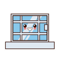 window house isolated cute kawaii cartoon vector image