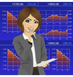 Female finance announcer with microphone vector image