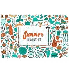 Summer set doodle elements travel drawing vector
