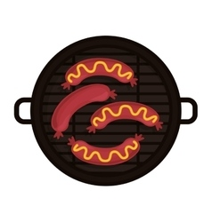 food grilled with big sausaces vector image