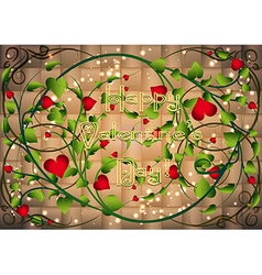 Greeting card with heart bush in weaving vs vector