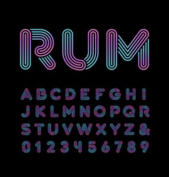 Neon font alphabet with neon stripes effect vector