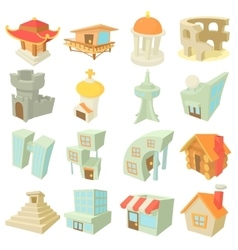 Different architecture icons set cartoon style vector