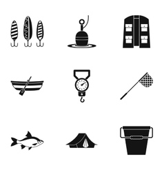 Catch fish icons set simple style vector