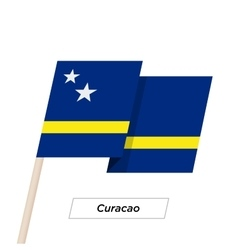Curacao ribbon waving flag isolated on white vector