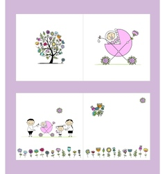 Newborn postcard cover and inside page design for vector