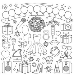 girl party doodle set vector image