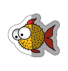 Sticker colorful silhouette blowfish aquatic vector