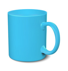 Blue mug realistic 3d mockup on a white vector