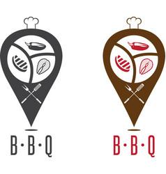 Bbq geo location pins design template vector