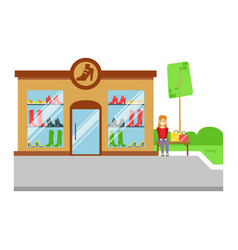 Shoes store building icon colorful vector