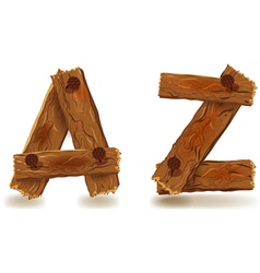 Wooden A and Z vector image