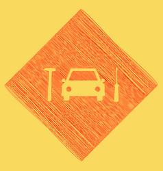 car tire repair service sign  red scribble vector image