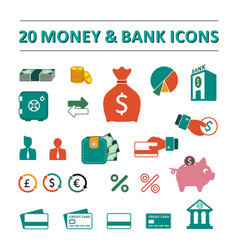 20 money and bank icons set vector image
