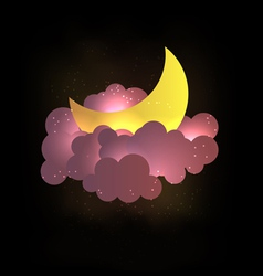 Moon clouds and stars sweet dreams wallp vector