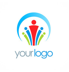 people group team work logo vector image