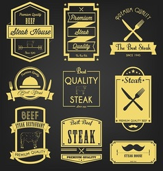 Steak premium label design vector