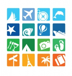 Travel and vacation icons vector